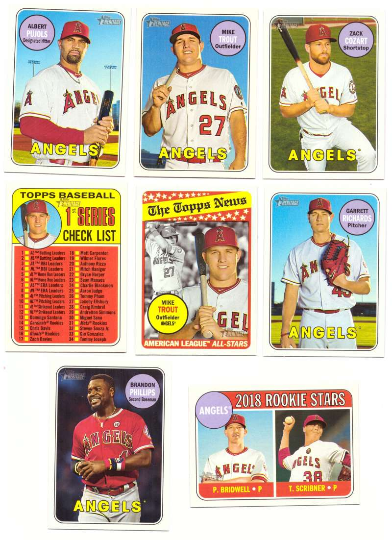 2018 Topps Heritage (w/ SP 1-500) - LOS ANGELES ANGELS Team set