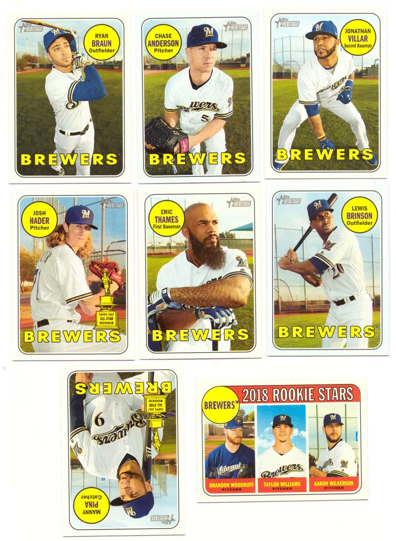 2018 Topps Heritage (w/ SP 1-500) - MILWAUKEE BREWERS Team Set