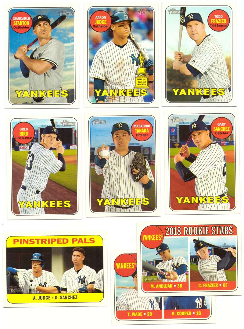 2018 Topps Heritage (w/ SP 1-500) - NEW YORK YANKEES Team Set