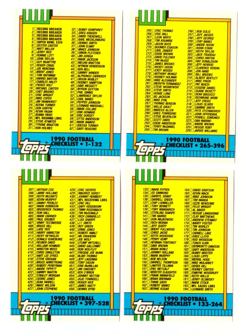 1990 Topps Tiffany Football Checklist 4 cards