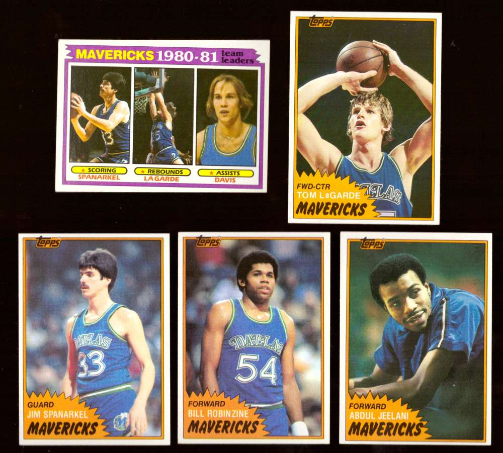 1981-82 Topps Basketball Team Set (EX Conditon) - Dallas Mavericks