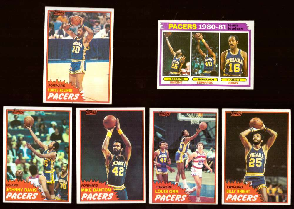 1981-82 Topps Basketball Team Set (EX+ Conditon) - Indiana Pacers