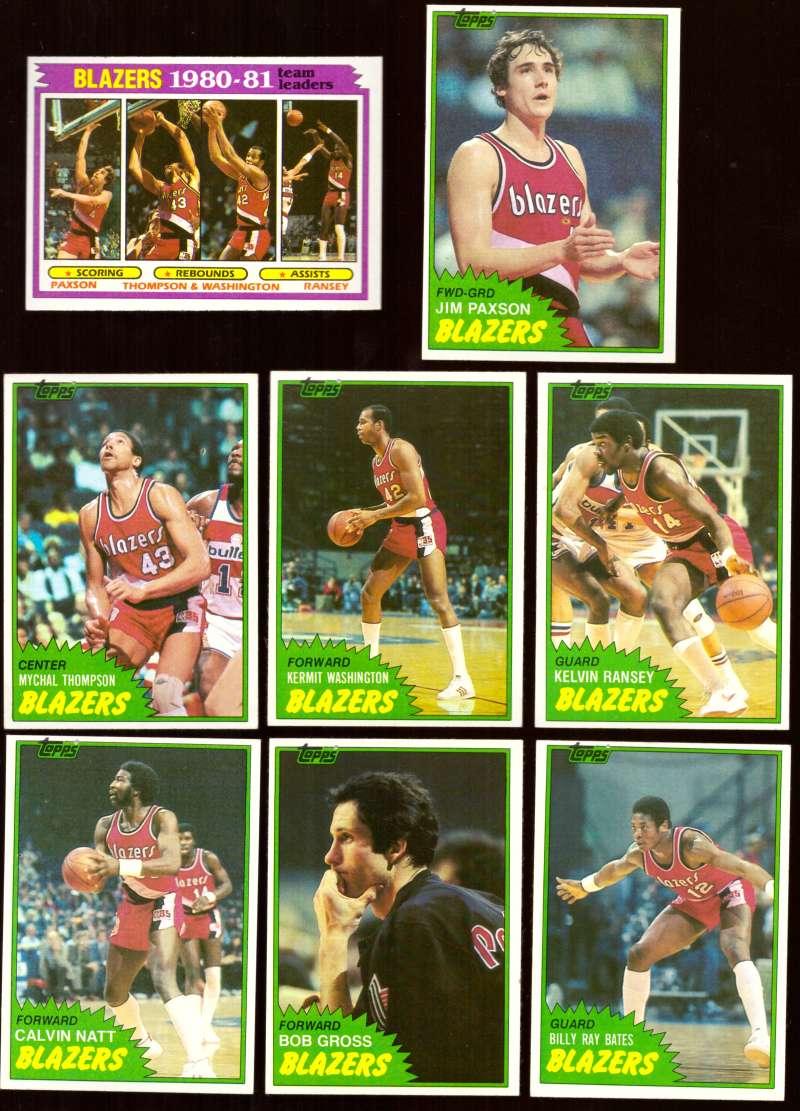 1981-82 Topps Basketball Team Set (EX Conditon) - Portland Trail Blazers