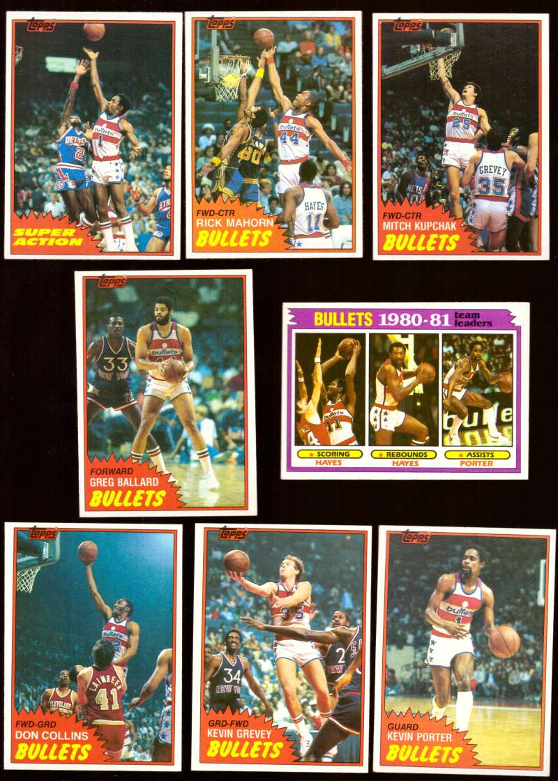 1981-82 Topps Basketball Team Set (EX Conditon) - Washington Bullets