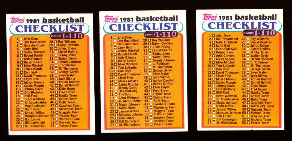 1981-82 Topps Basketball Checklist 3 cards