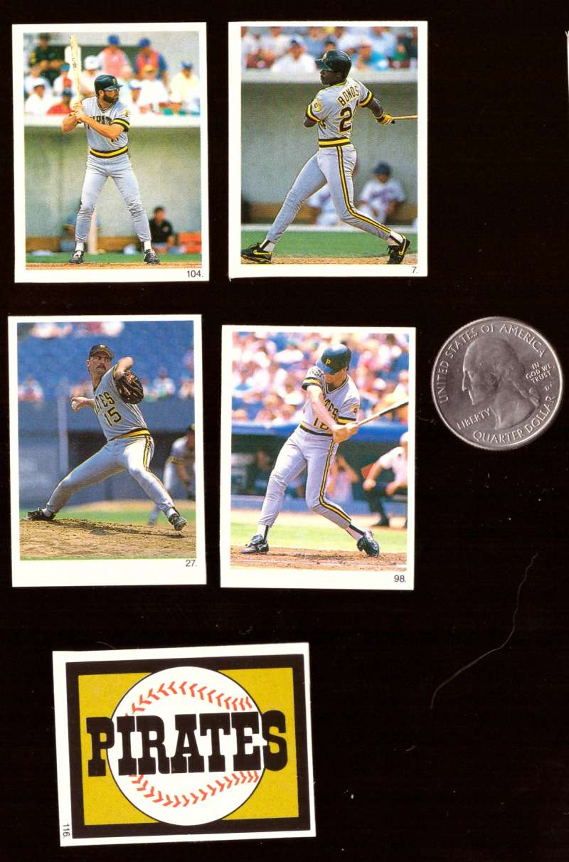 1990 Red Foley Stickers - PITTSBURGH PIRATES Team Set