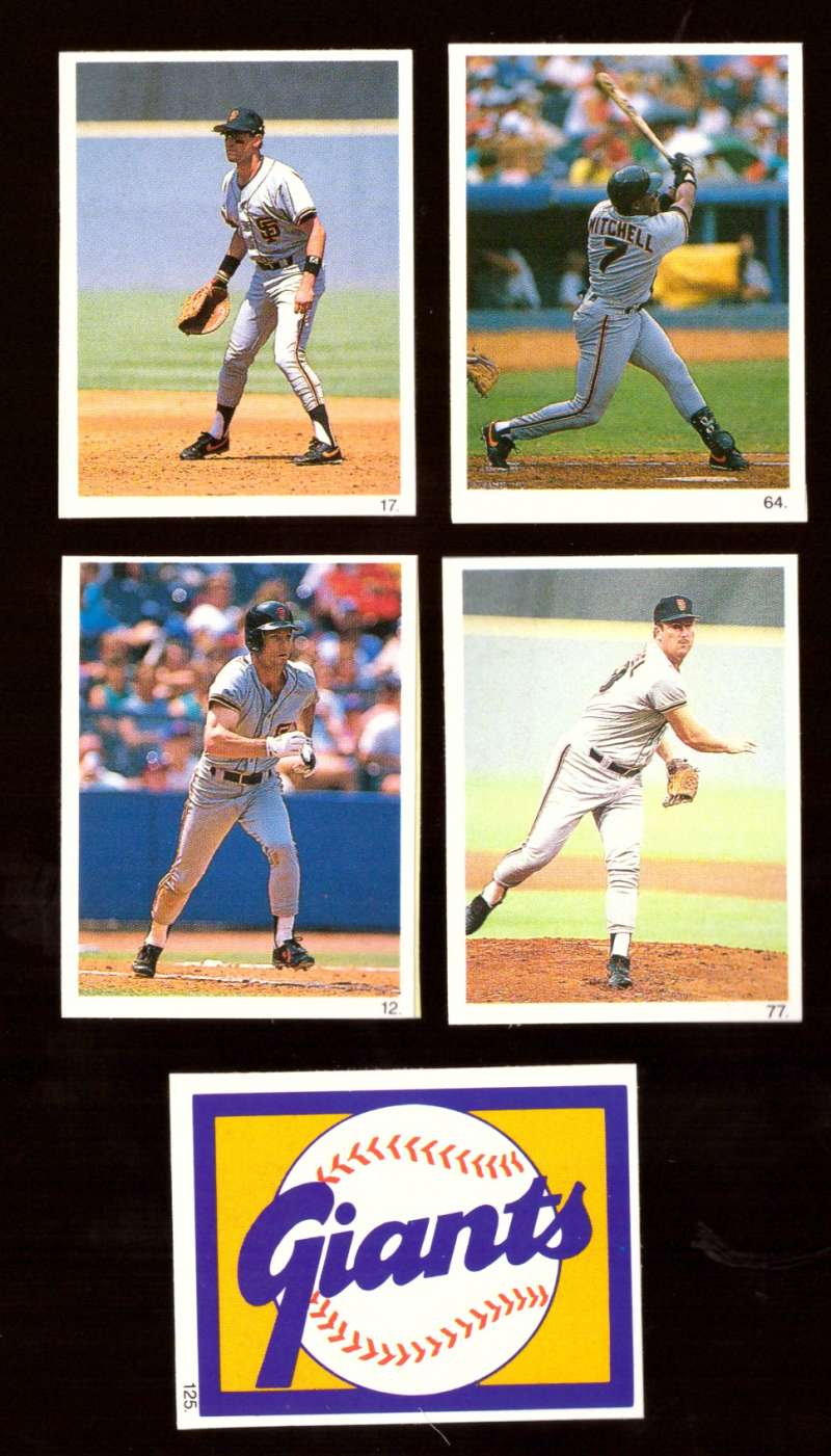 1990 Red Foley Stickers - SAN FRANCISCO GIANTS Team Set