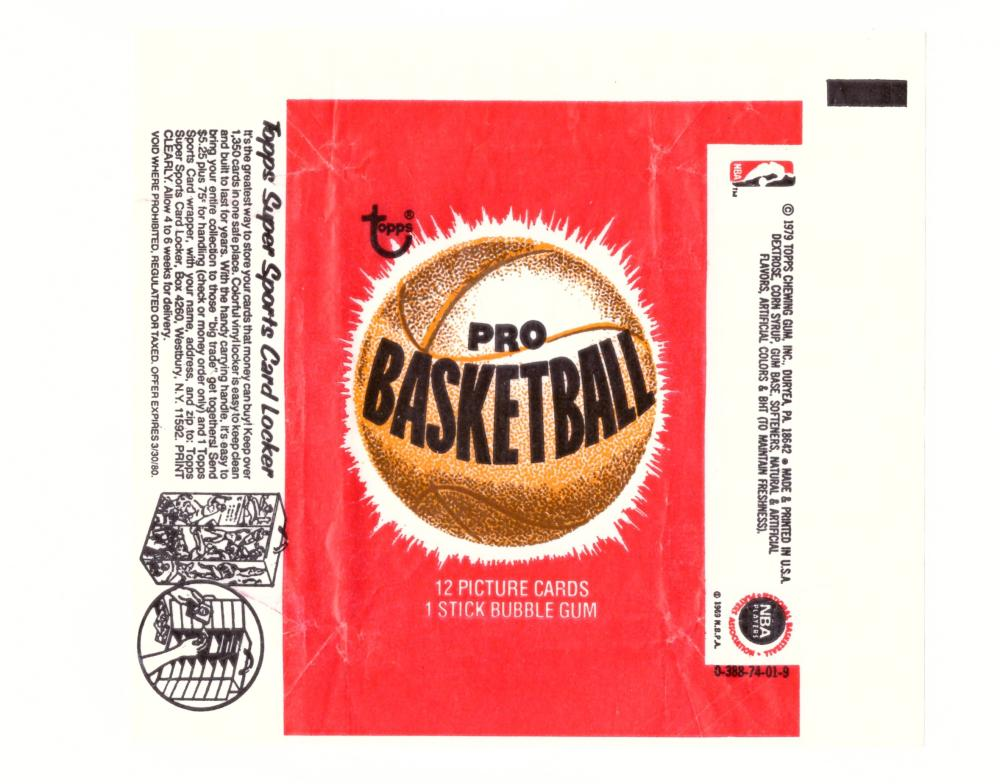 1979-80 Topps Basketball Wrapper (Sports Card Locker Ad)