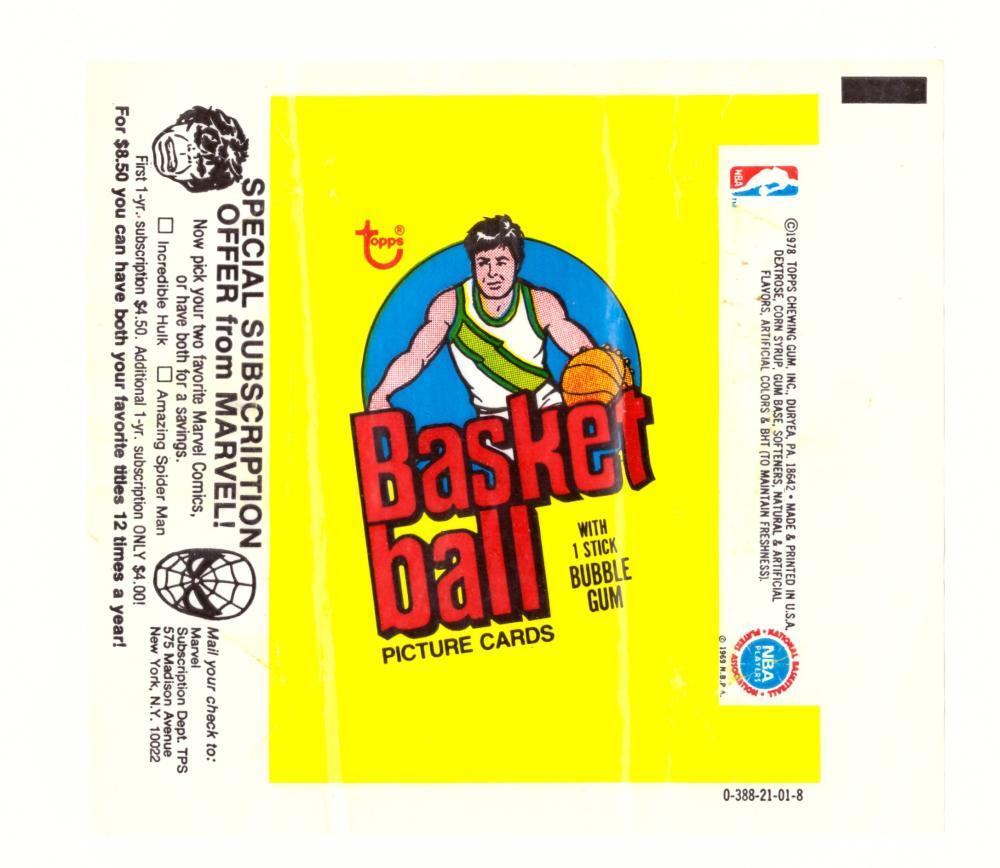 1978-79 Topps Basketball Wrapper (Marvel Ad)