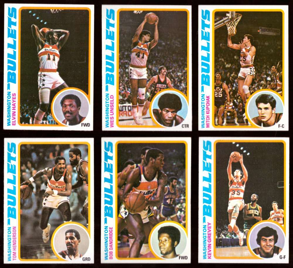 1978-79 Topps Basketball Team Set - Washington Bullets