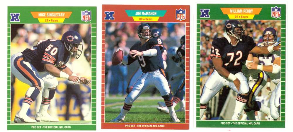 1989 Pro Set Football Team Set - CHICAGO BEARS w/# 47 William Perry SP