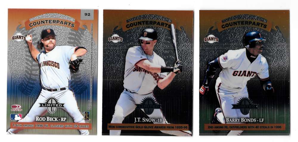1997 Donruss Limited Counterparts - SAN FRANCISCO GIANTS Team Set