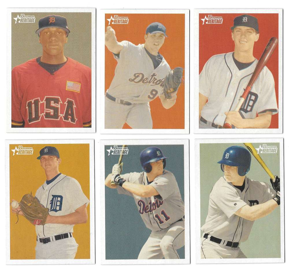 2006 Bowman Heritage Prospects - DETROIT TIGERS Team Set