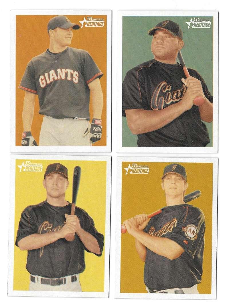 2006 Bowman Heritage Prospects - SAN FRANCISCO GIANTS Team Set
