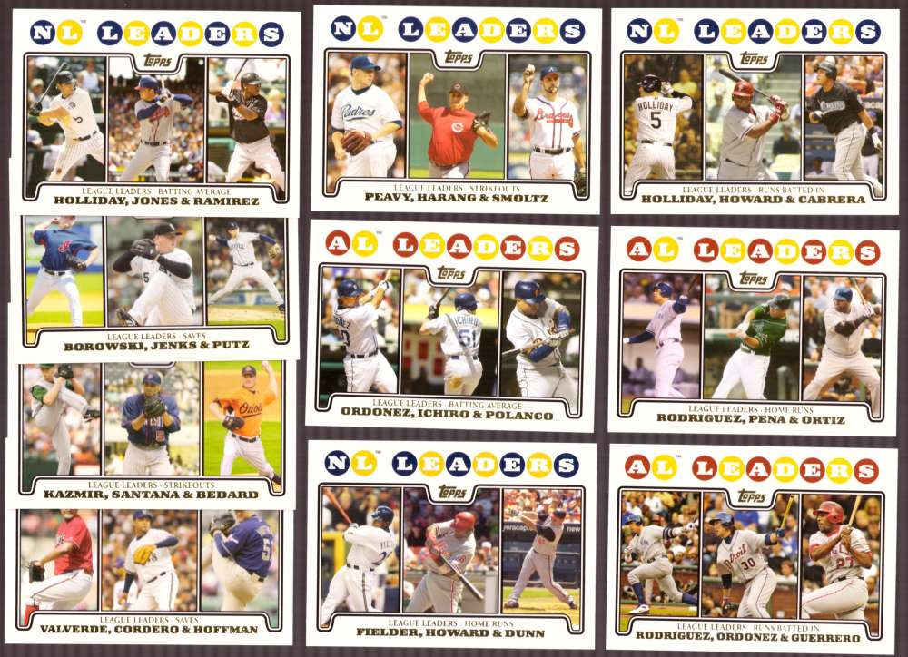 2008 Topps Gold Foil - League Leaders 10 card suibset