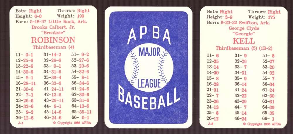 1957 APBA (Reprint) Season - BALTIMORE ORIOLES Team Set (Issued I986)