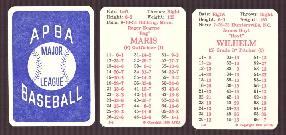 1957 APBA (Reprint) Season - CLEVELAND INDIANS Team Set (Issued I986)