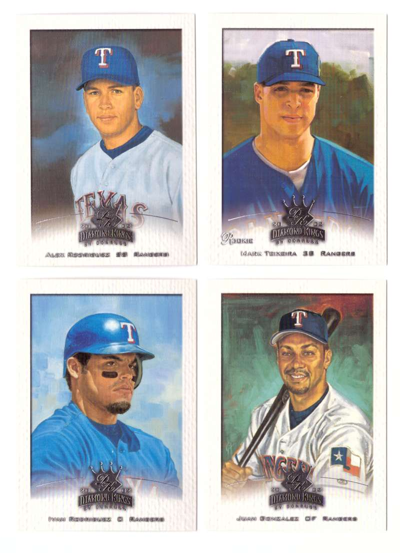 2002 Donruss Diamond Kings (1-150) - TEXAS RANGERS Team set