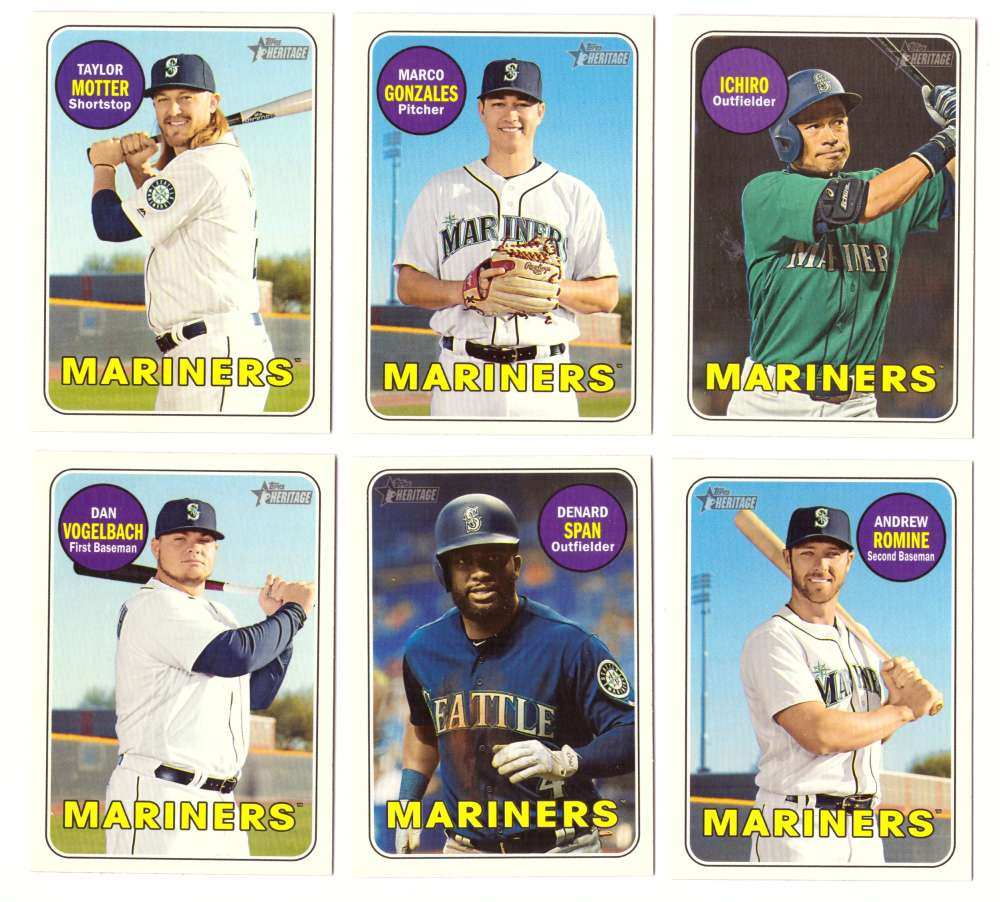 2018 Topps Heritage High Numbers 501-725 - SEATTLE MARINERS Team Set