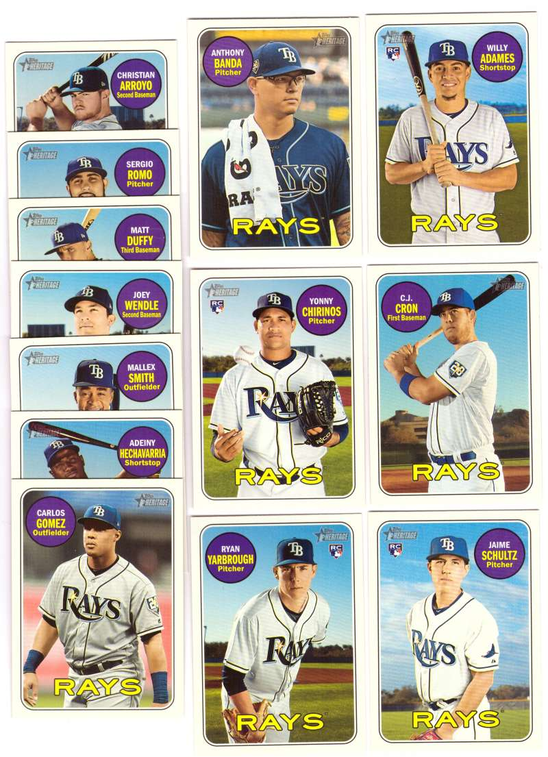 2018 Topps Heritage High Numbers 501-725 - TAMPA BAY RAYS Team Set
