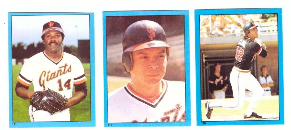 1982 Topps Stickers - SAN FRANCISCO GIANTS Team Set