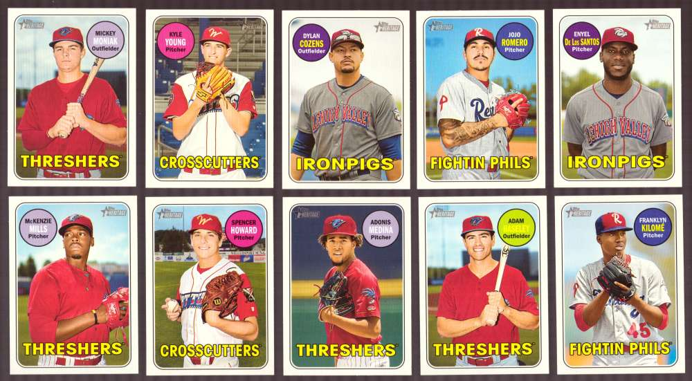2018 Topps Heritage Minors - PHILADELPHIA PHILLIES 10 Card Team Set