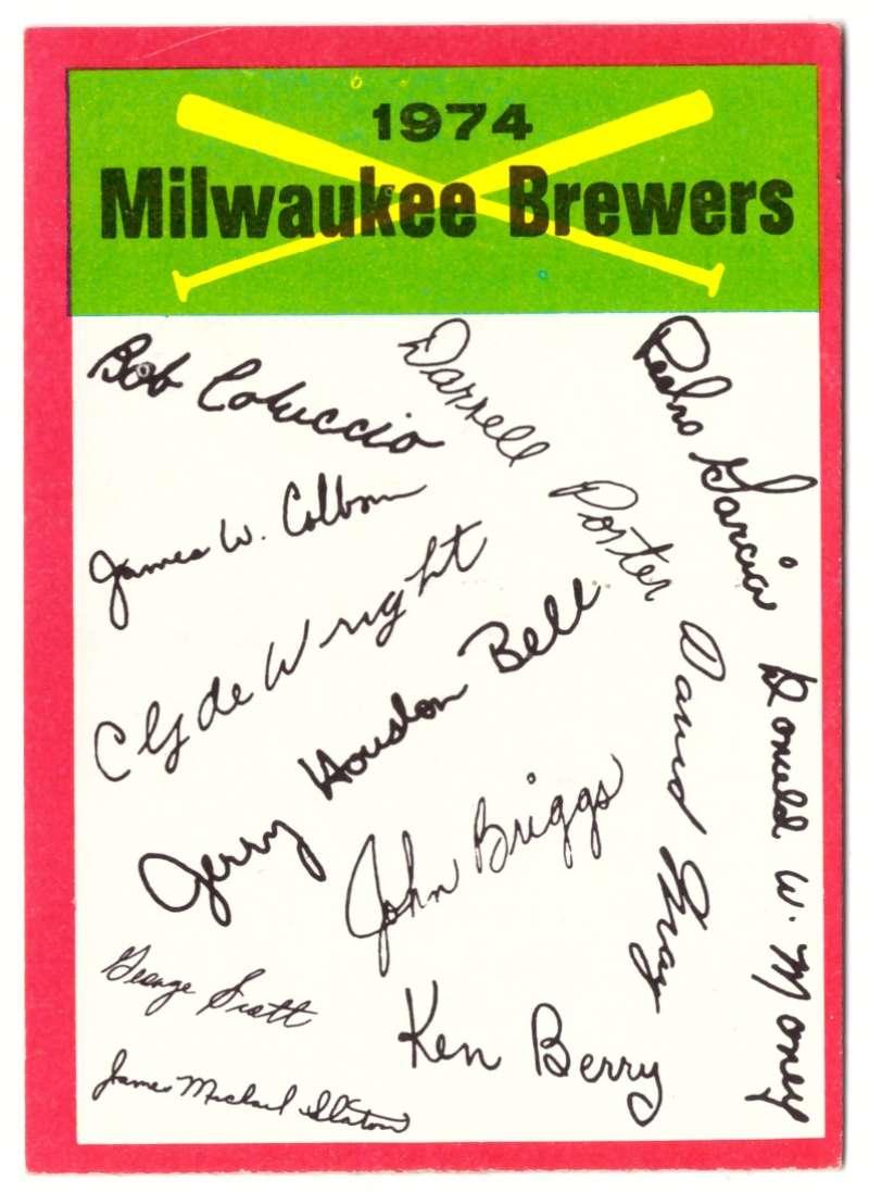 1974 Topps Team Checklist Card - MILWAUKEE BREWERS
