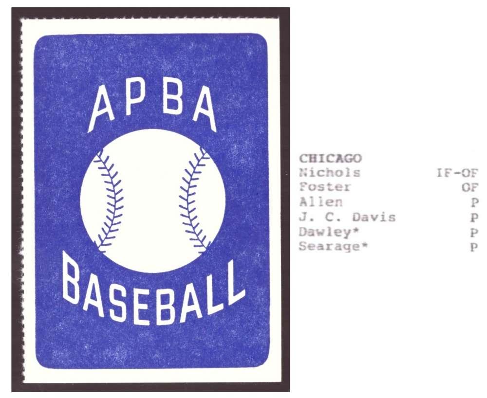 1986 APBA Season XB Cards only - CHICAGO WHITE SOX