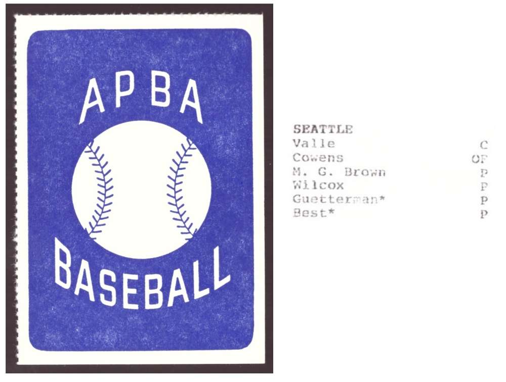 1986 APBA Season XB Cards only - SEATTLE MARINERS