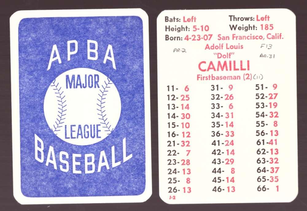1934 APBA Season w/ master symbols written on - PHILADELPHIA PHILLIES Team Set