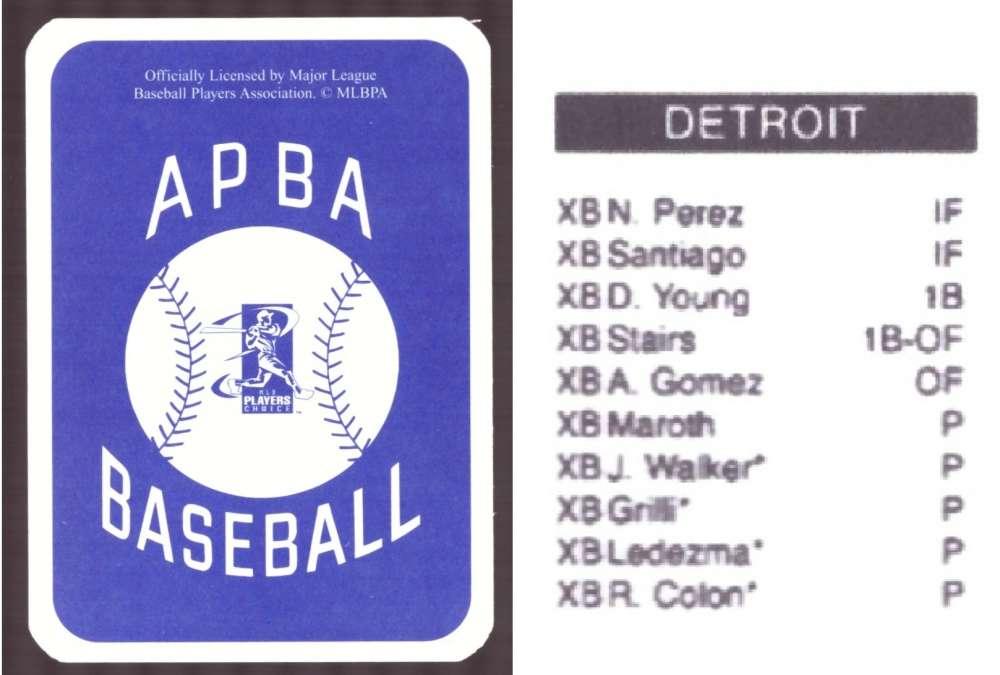 2006 APBA Season XB Player 10 cards - DETROIT TIGERS Team Set