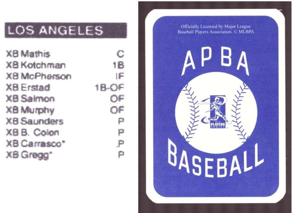 2006 APBA Season XB Player 10 cards - LOS ANGELES ANGELS Team Set