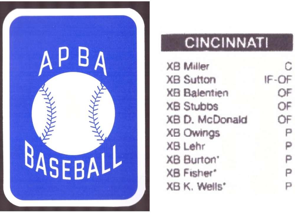 2009 APBA Season XB Player 10 cards - CINCINNATI REDS Team Set