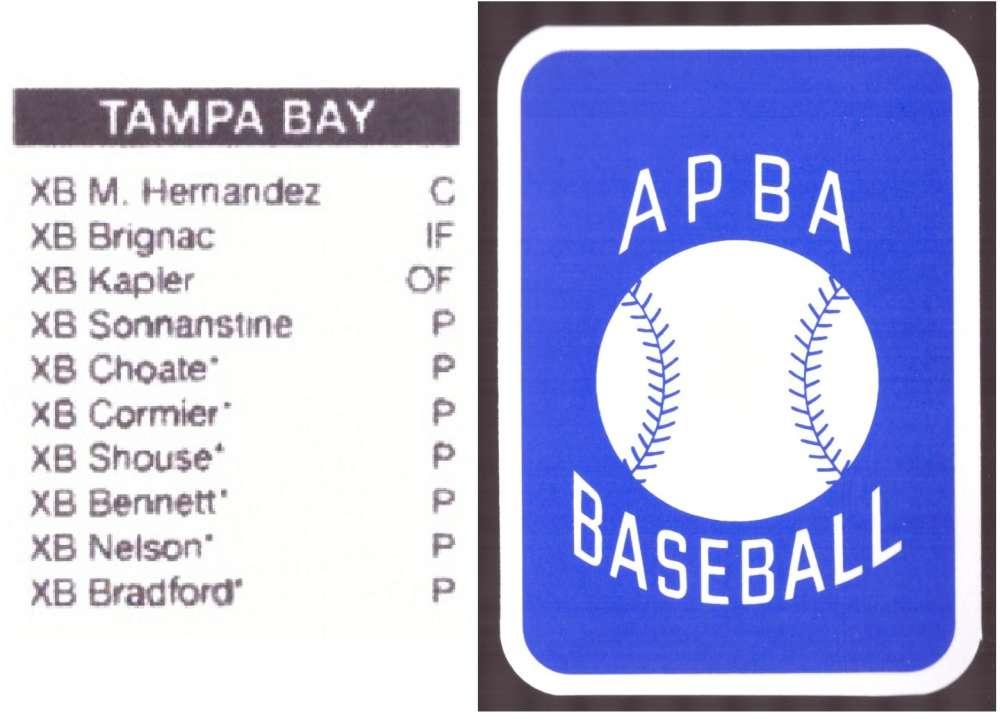 2009 APBA Season XB Player 10 cards - TAMPA BAY DEVIL RAYS Team Set