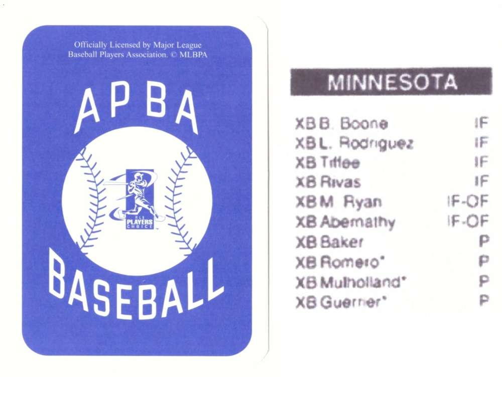 2005 APBA Season XB Player 10 cards - MINNESOTA TWINS Team Set