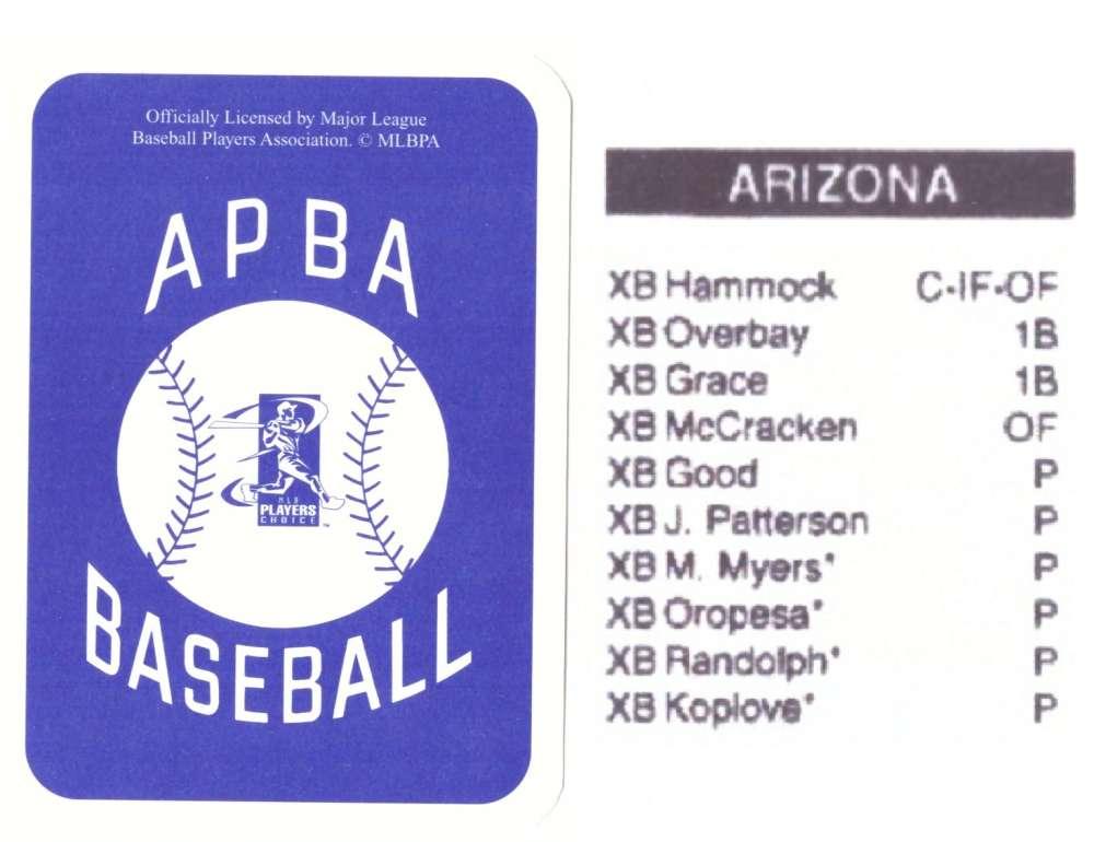 2003 APBA Season XB Player 10 cards - ARIZONA DIAMONDBACKS Team Set