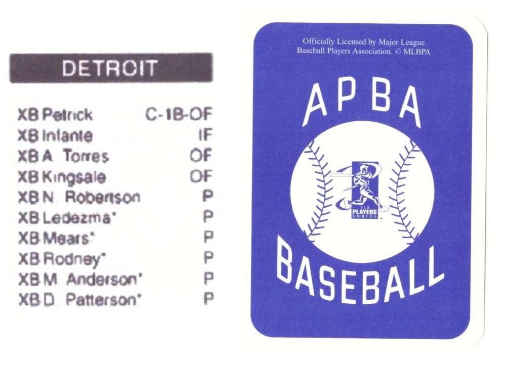 2003 APBA Season XB Player 10 cards - DETROIT TIGERS Team Set
