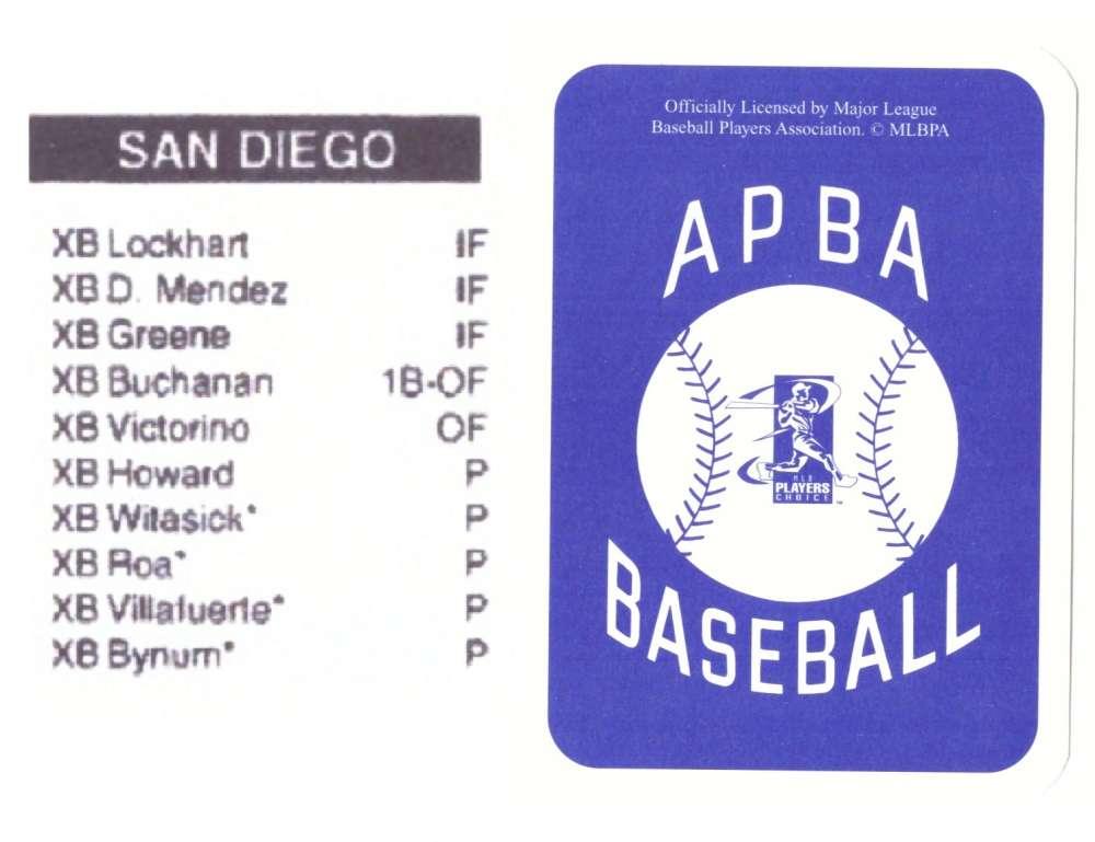 2003 APBA Season XB Player 10 cards - SAN DIEGO PADRES Team Set