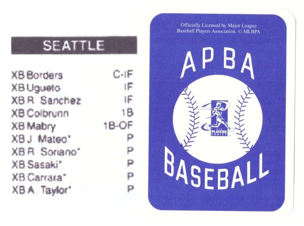 2003 APBA Season XB Player 10 cards - SEATTLE MARINERS Team Set