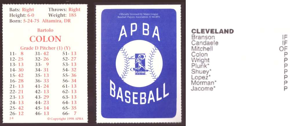 1997 APBA Season XB Player 10 card - CLEVELAND INDIANS Team Set