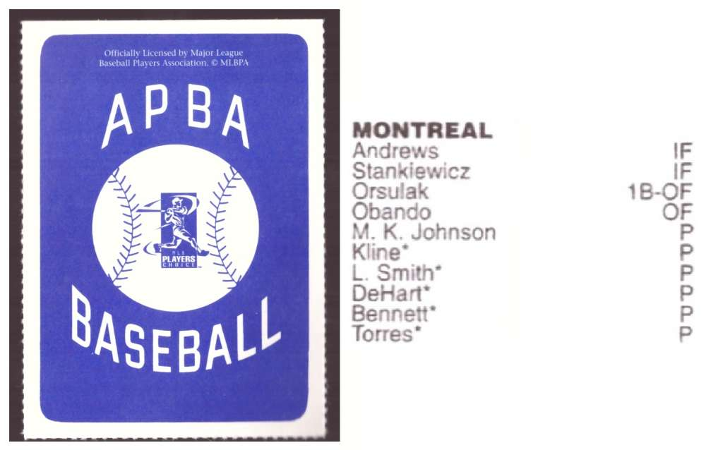 1997 APBA Season XB Player 10 card - MONTREAL EXPOS Team Set