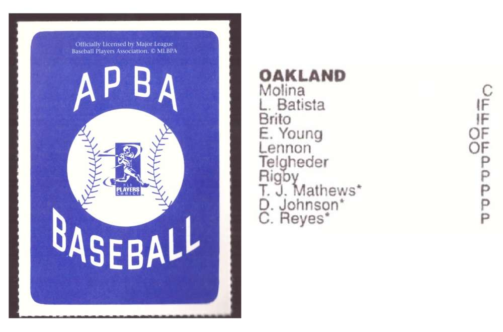 1997 APBA Season XB Player 10 card - OAKLAND ATHLETICS / As Team Set