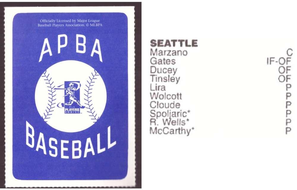 1997 APBA Season XB Player 10 card - SEATTLE MARINERS Team Set
