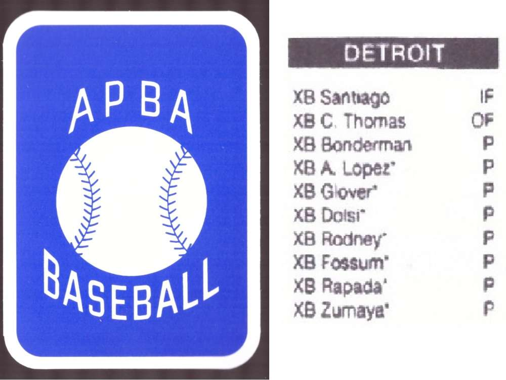 2008 APBA Season XB Player 10 cards - DETROIT TIGERS Team Set