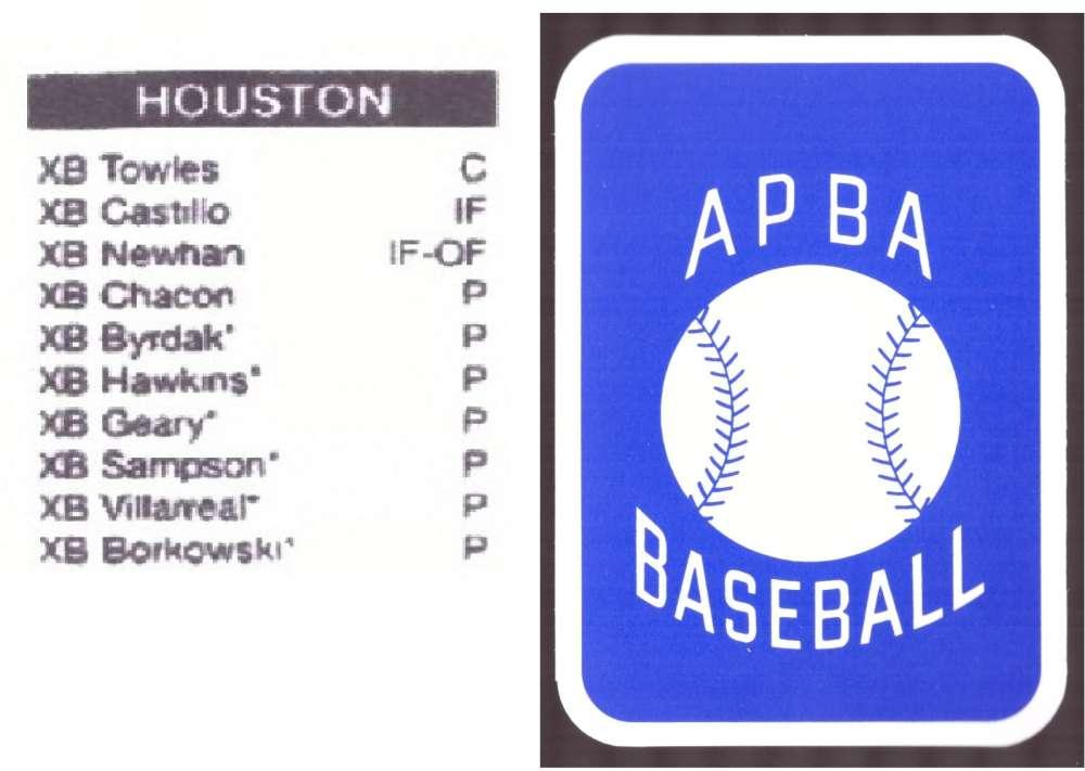 2008 APBA Season XB Player 10 cards - HOUSTON ASTROS Team Set
