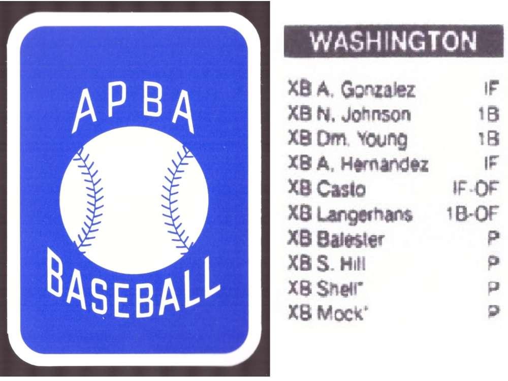 2008 APBA Season XB Player 10 cards - WASHINGTON NATIONALS Team Set