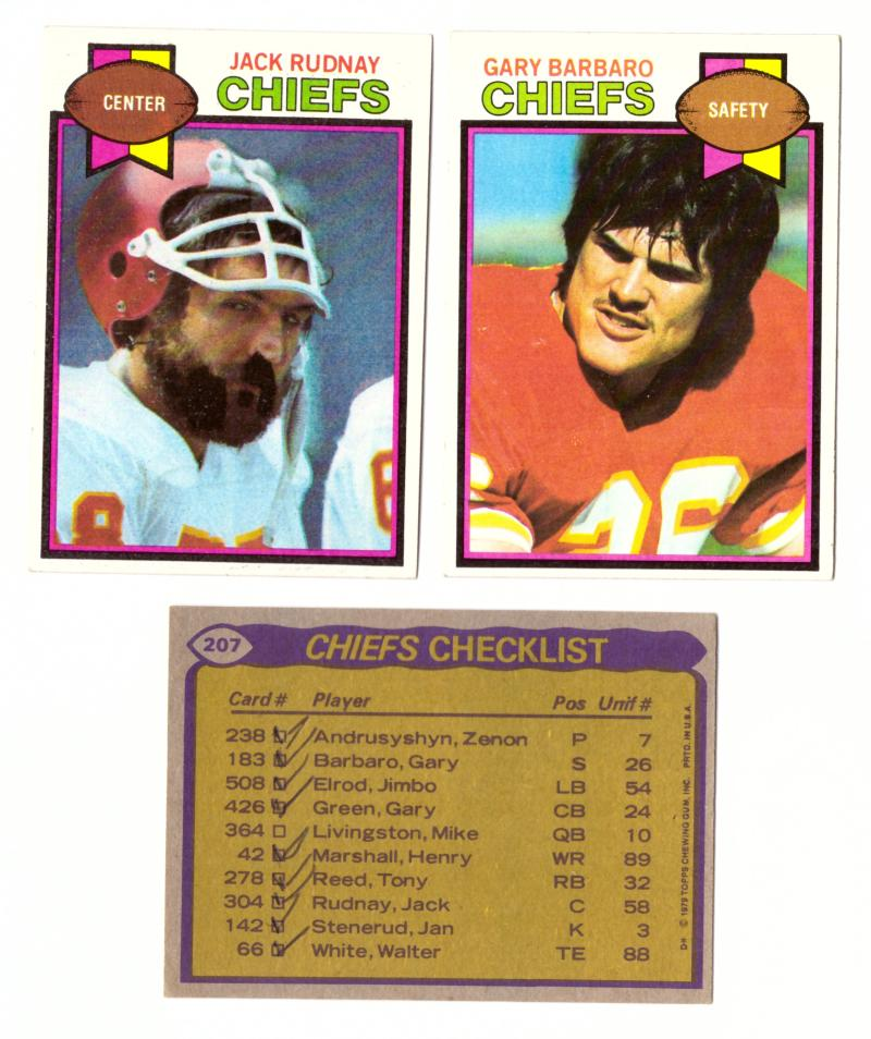 1979 Topps Football Team Set - KANSAS CITY CHIEFS (checklist marked)