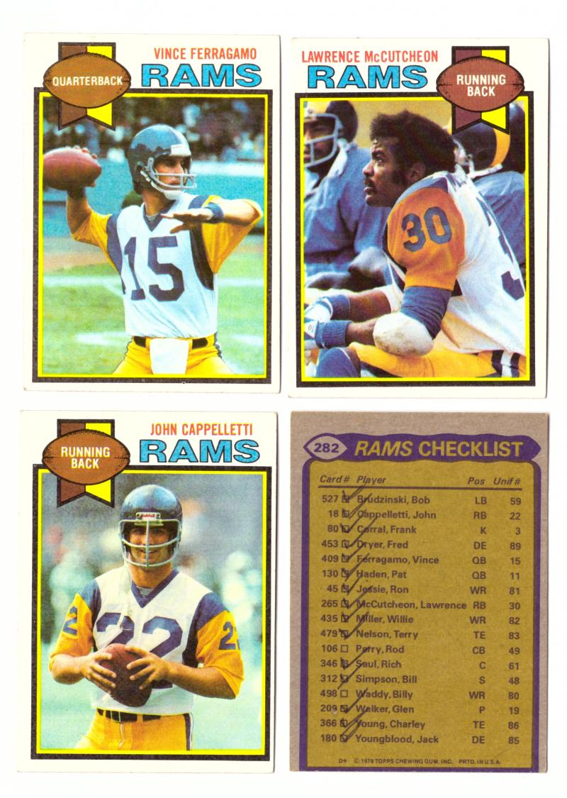 1979 Topps Football Team Set - LOS ANGELES RAMS (checklist marked)