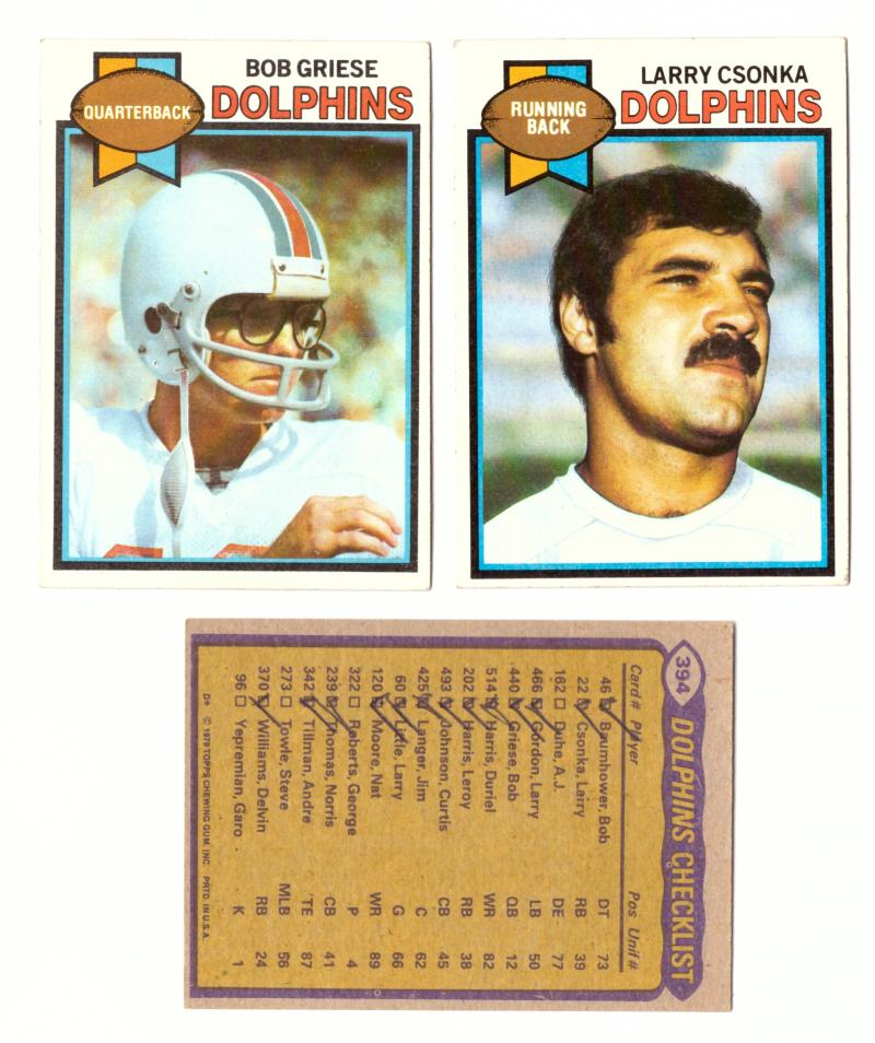 1979 Topps Football Team Set - MIAMI DOLPHINS (checklist marked)