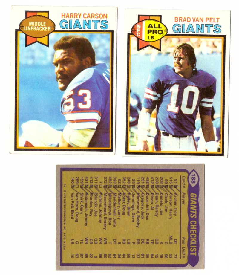 1979 Topps Football Team Set - NEW YORK GIANTS (checklist marked)